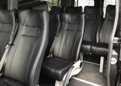 Leather minivan seats installed