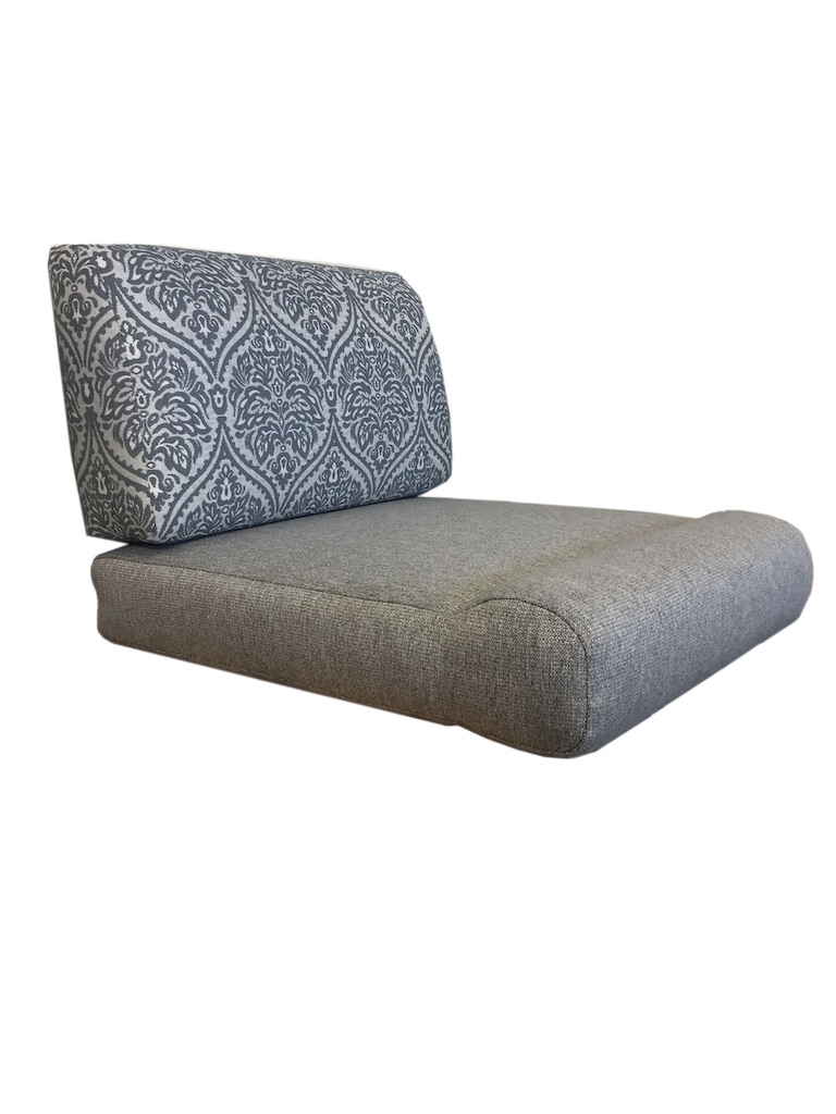 Cushions with profile back and knee roll seat. Seat back is in a blue and white pattern. Seat fabric is plain grey.