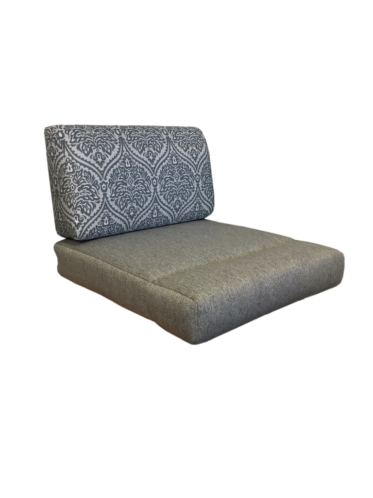 Cushions with profile back and pull down seat. Seat back is in a blue and white pattern. Seat fabric is plain grey.
