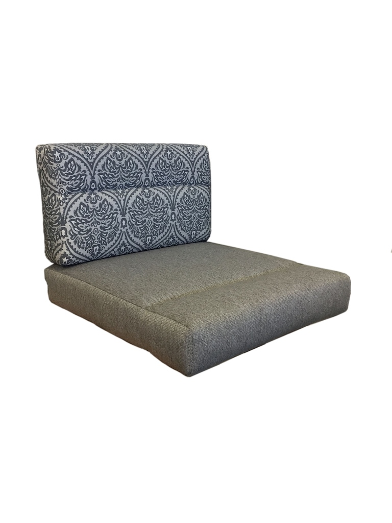 Wrap around seat and back cushions with pull down detailing. Seat back is in a blue and white pattern. Seat fabric is plain grey.