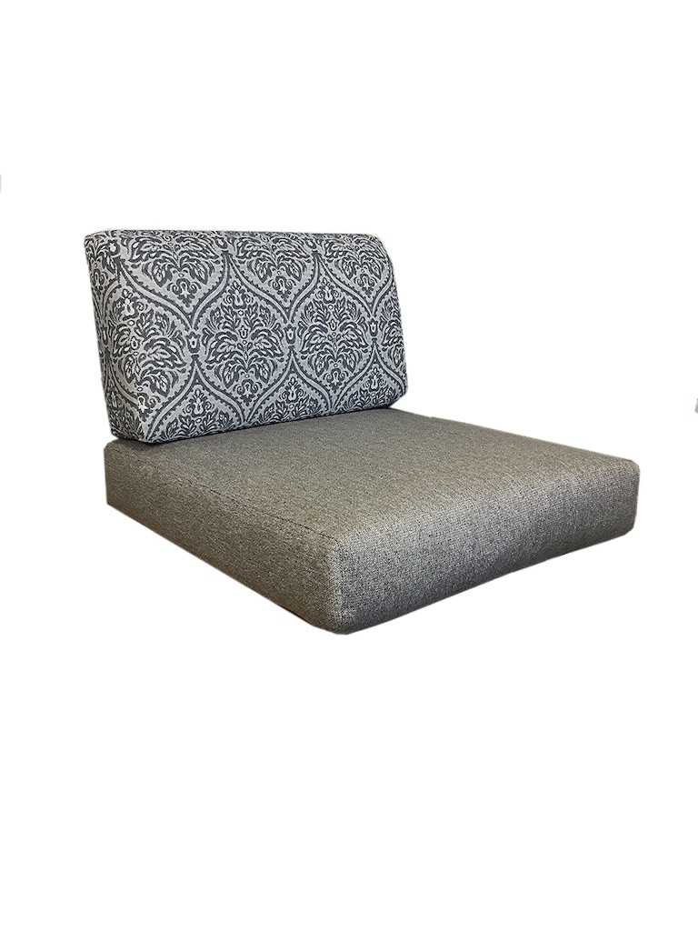 Wrap around seat and back cushions. Seat back is in a blue and white pattern. Seat fabric is plain grey.