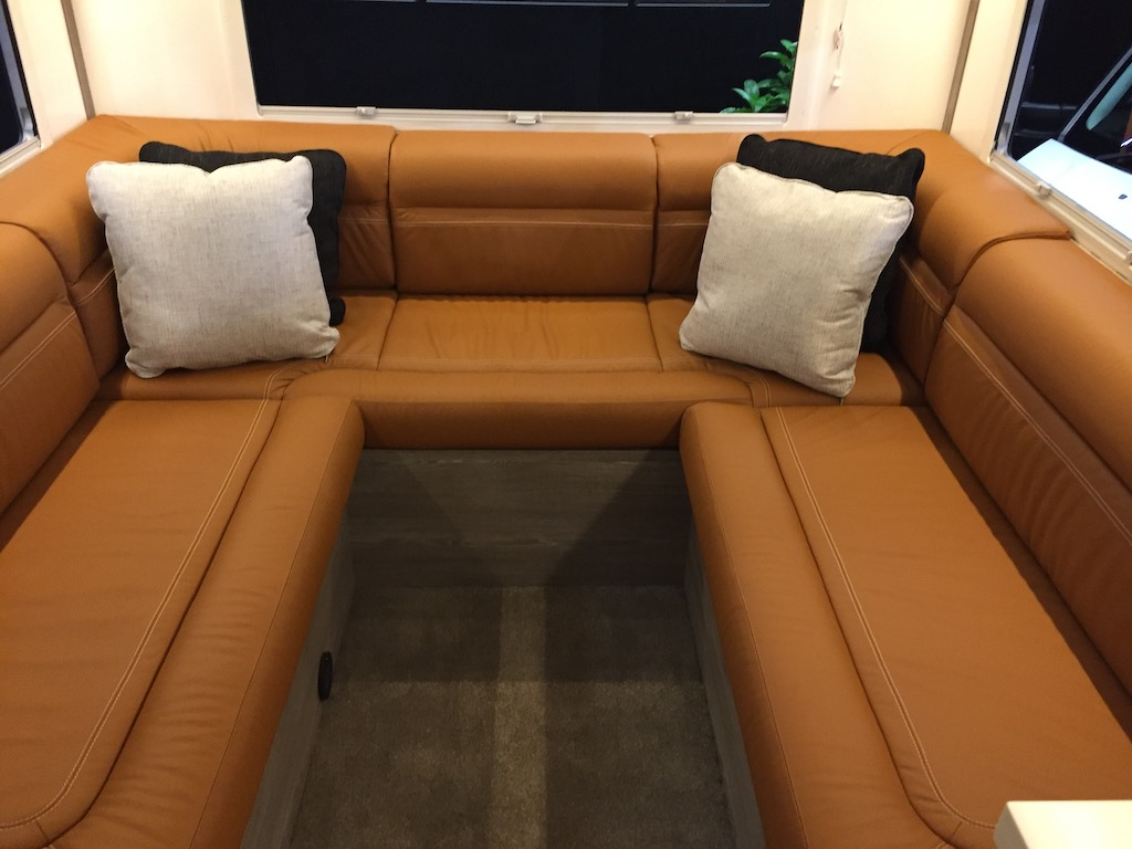Leather upholstered lounge