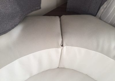 Close up of cushion before refurbishment